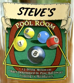 Personalized Pool Room Pint Glasses - Close Up