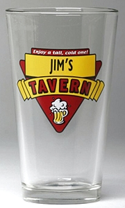 Personalized Red Tavern Pint Glasses