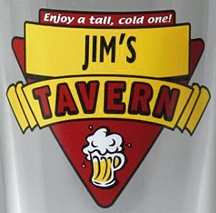 Personalized Red Tavern Pint Glasses - Close Up