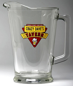 Personalized Red Tavern Glass Pitcher