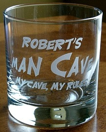 Personalized Man Cave - My Cave, My Rules Double Old Fashioned Glass