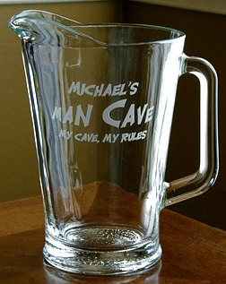 Personalized Man Cave - My Cave, My Rules Glass Pitcher