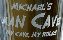 Personalized Man Cave - My Cave, My Rules Glass Pitcher - Close Up