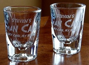 Personalized Man Cave - My Cave, My Rules Shot Glasses