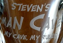Personalized Man Cave - My Cave, My Rules Shot Glasses - Close Up