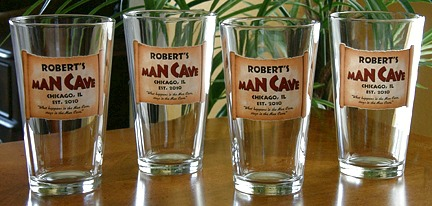 Personalized Man Cave Pint Glasses - Set of 4
