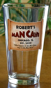 Personalized Man Cave Pint Glass