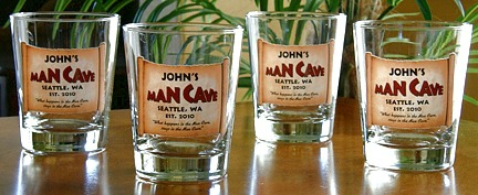 Personalized Man Cave Double Old Fashioned Glasses - Set of 4