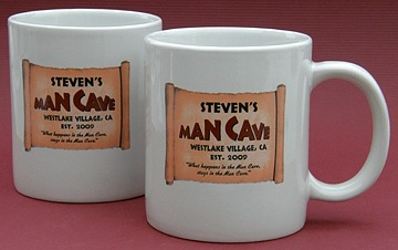 Personalized Man Cave Jumbo Coffee Mugs - Set of 2