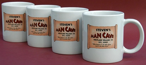 Personalized Man Cave Jumbo Coffee Mugs - Set of 4