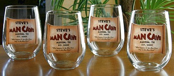 Personalized Man Cave Stemless Wine Glasses - Set of 4