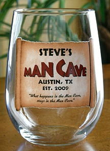 Personalized Man Cave Stemless Wine Glass