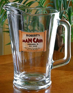 Personalized Man Cave Glass Pitcher