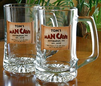 Personalized Man Cave Tankard Mugs - Extra Large - Set of 2