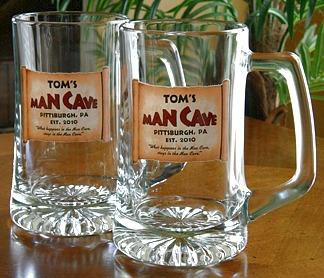 Personalized Man Cave Tankard Mugs - Extra Large - Set of 2