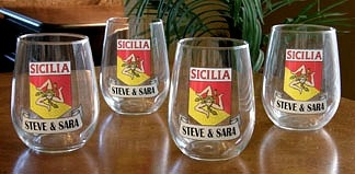 Personalized Sicilia Pride Stemless Wine Glasses - Set of 4