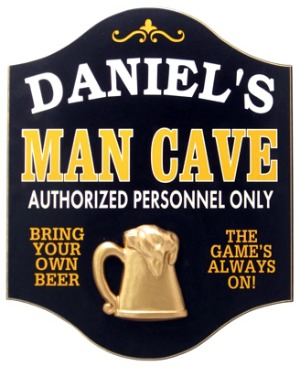 Personalized Man Cave Sign with a 3D Gold Beer Mug