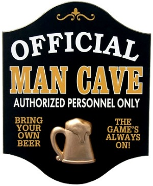 Official Man Cave Pub Sign with a 3D Gold Beer Mug