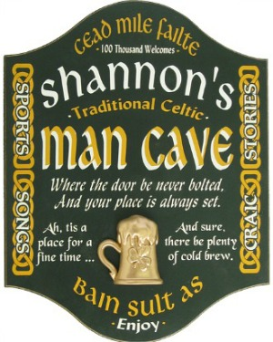 Personalized Irish Man Cave Sign with a 3D Gold Beer Mug