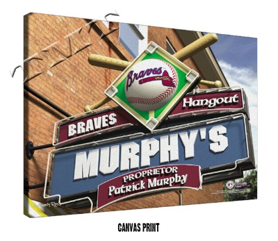 Personalized Atlanta Braves MLB Sports Room Pub Sign - Canvas Mounted Print