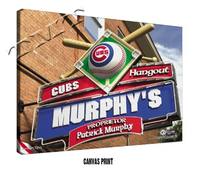 Personalized Chicago Cubs MLB Sports Room Pub Sign - Canvas Mounted Print