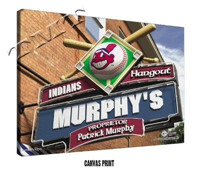 Personalized Cleveland Indians MLB Sports Room Pub Sign - Canvas Mounted Print