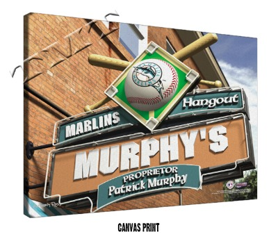 Personalized Florida Marlins MLB Sports Room Pub Sign - Canvas Mounted Print