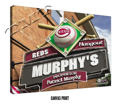 Personalized Cincinnati Reds MLB Sports Room Pub Sign - Canvas Mounted Print