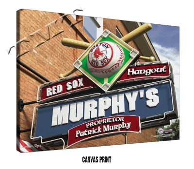 Personalized Boston Red Sox MLB Sports Room Pub Sign - Canvas Mounted Print