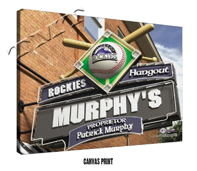 Personalized Colorado Rockies MLB Sports Room Pub Sign - Canvas Mounted Print