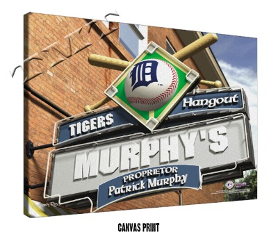 Personalized Detroit Tigers MLB Sports Room Pub Sign - Canvas Mounted Print