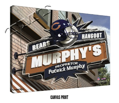 Personalized Chicago Bears NFL Sports Room Pub Sign - Canvas Mounted Print