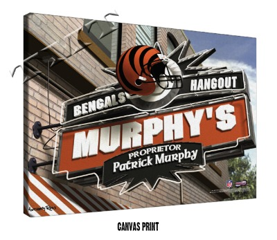 Personalized Cincinnati Bengals NFL Sports Room Pub Sign - Canvas Mounted Print