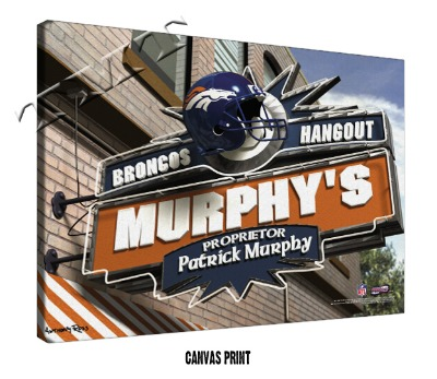 Personalized Denver Broncos NFL Sports Room Pub Sign - Canvas Mounted Print