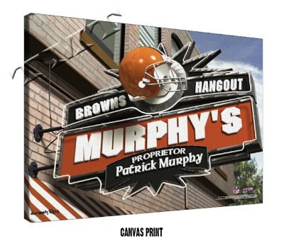 Personalized Cleveland Browns NFL Sports Room Pub Sign - Canvas Mounted Print