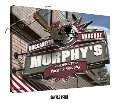 Personalized Tampa Bay Buccaneers NFL Sports Room Pub Sign - Canvas Mounted Print