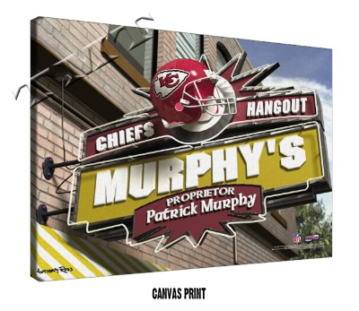 Personalized Kansas City Chiefs NFL Sports Room Pub Sign - Canvas Mounted Print
