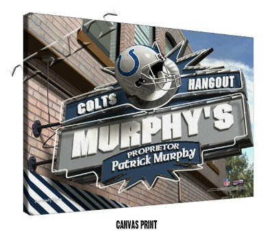 Personalized Indianapolis Colts NFL Sports Room Pub Sign - Canvas Mounted Print