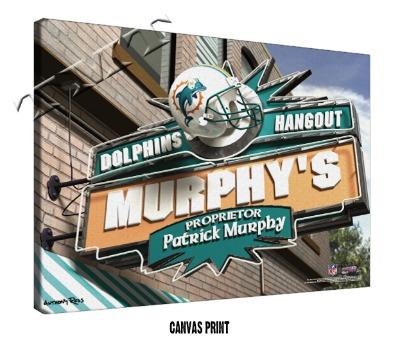 Personalized Miami Dolphins NFL Sports Room Pub Sign - Canvas Mounted Print