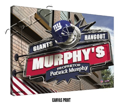 Personalized New York Giants NFL Sports Room Pub Sign - Canvas Mounted Print