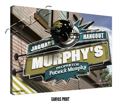 Personalized Jacksonville Jaguars NFL Sports Room Pub Sign - Canvas Mounted Print