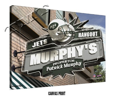 Personalized New York Jets NFL Sports Room Pub Sign - Canvas Mounted Print