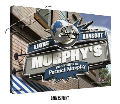 Personalized Detroit Lions NFL Sports Room Pub Sign - Canvas Mounted Print