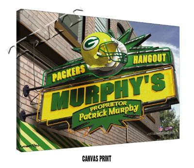 Personalized Green Bay Packers NFL Sports Room Pub Sign - Canvas Mounted Print