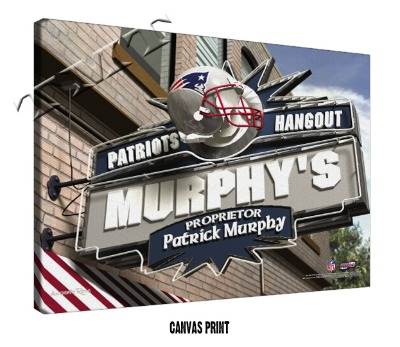 Personalized New England Patriots NFL Sports Room Pub Sign - Canvas Mounted Print