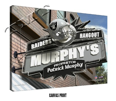 Personalized Oakland Raiders NFL Sports Room Pub Sign - Canvas Mounted Print