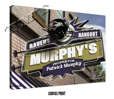 Personalized Baltimore Ravens NFL Sports Room Pub Sign - Canvas Mounted Print