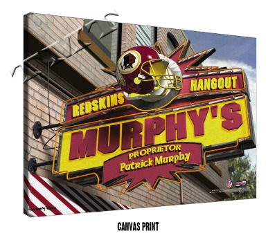 Personalized Washington Redskins NFL Sports Room Pub Sign - Canvas Mounted Print