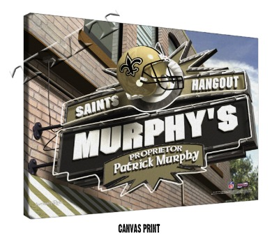 Personalized New Orleans Saints NFL Sports Room Pub Sign - Canvas Mounted Print