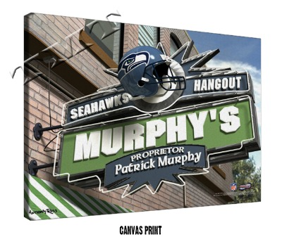 Personalized Seattle Seahawks NFL Sports Room Pub Sign - Canvas Mounted Print